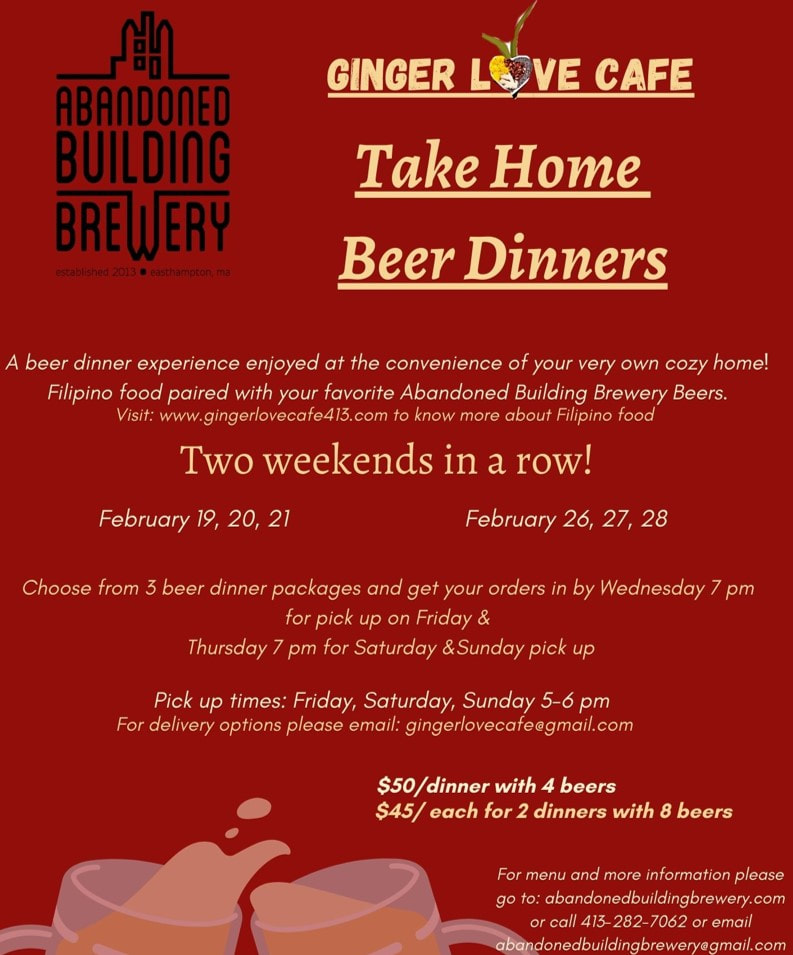 Take Home Ginger Love Cafe Dinner and Beer Options